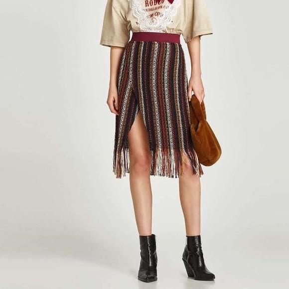 eedda48e2a Zara Skirts   Nwt Striped Tweed Fringe Faux Wrap Skirt   Poshmark